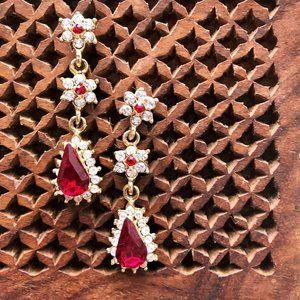 Ruby & Diamond Floral Drop Earrings